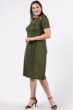 Womenice Kadın Büyük Beden Haki Tül Detaylı Elbise