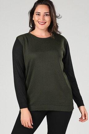 Womenice Kadın Haki Çift Renk Triko Bluz