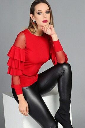 Womenice Kadın Kırmızı Tül Fırfır Kol Bluz W71437S02