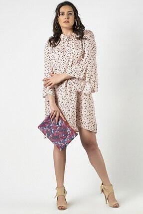 Womenice Kadın Büyük Beden Krem Çiçek Desenli Yaka Bağlamalı Elbise