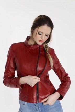 Kadın Kırmızı  Vira Deri Ceket Zg1039 VZG1039000037