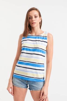 Hanna's Çizgili Renkli Kolsuz Bluz