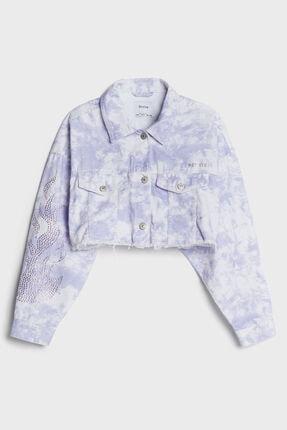 Bershka Mor Batik Crop Fit Ceket