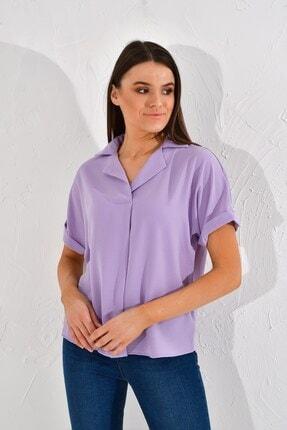 Cotton Mood Kadın Lila Sunshine Bindirmeli Ceket Yaka Bluz 20022967