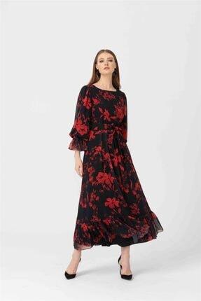 Seçil Desenli Uzun Boy Elbise 3507 Kırmızı