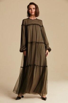 Nihan Kadın Sarı Tüllü Elbise XTB0405
