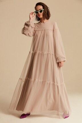 Nihan Kadın Vizon Tüllü Elbise - Xtb0405
