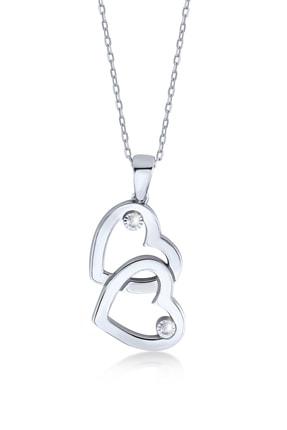 Gelin Pırlanta 925 Ayar Gümüş Pırlanta Çift Kalp Kolye