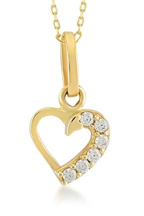 Gelin Pırlanta Kadın 14 Ayar Altın Kalp Kolye GLN100134