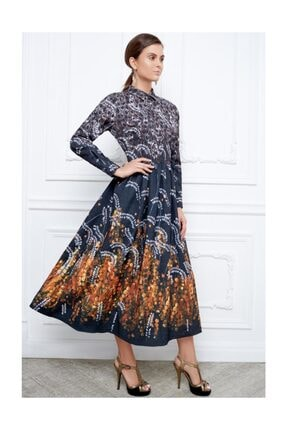 Faberlic Siyah Ve Gri Desenli Uzun Elbise 46 Beden