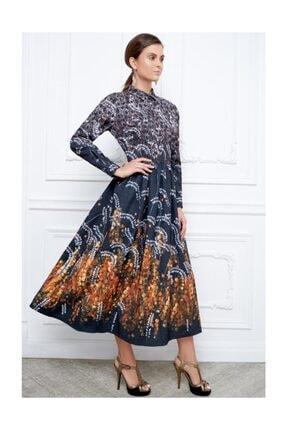 Faberlic Siyah Ve Gri Desenli Uzun Elbise 40 Beden