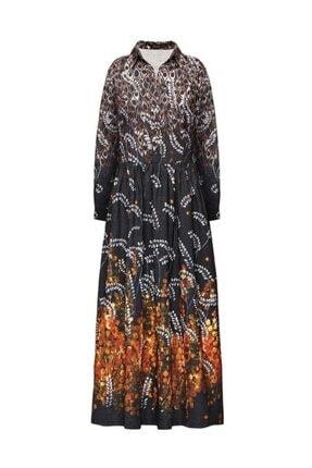 Faberlic Kadın Siyah Desenli Uzun Elbise 36 Beden