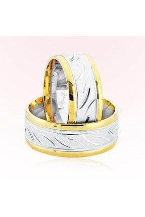 HAREM ALTIN Sarı Beyaz Desenli Altın Alyans 6907