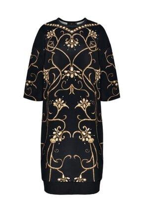 Faberlic Kadın Siyah Yarım Kollu Monogram Elbise