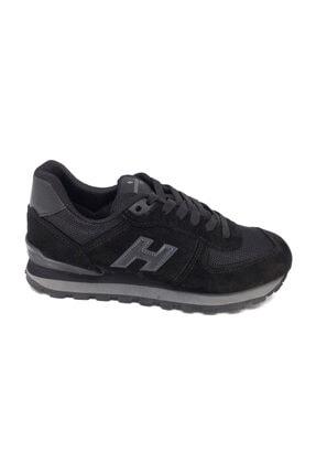 Hammer Jack Unisex Siyah Füme Hakiki Deri Sneaker Ayakkabı