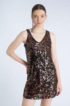 Home Store Kadın Kahverengi Multicolor Elbise