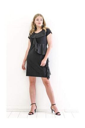 ANGELINO Kadın Ön Şifon Fırfır Detay Kısa Abiye Elbise KL7898 Siyah T109938