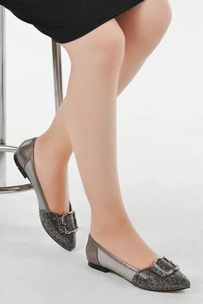 Ayakland Kadın Gümüş Günlük Abiye Babet Ayakkabı