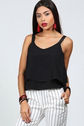 Womenice Kadın Siyah Bant Askılı Bluz