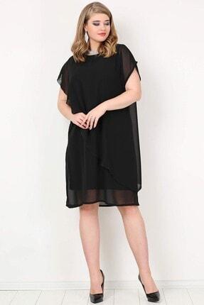 ANGELINO Kadın Siyah Şifon Abiye Elbise KL89001
