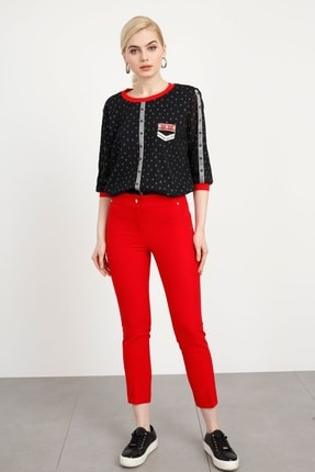Moda İlgi Kadın Kırmızı Yan Cep Dar Paça Pantolon