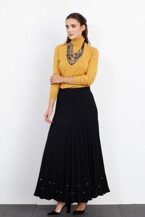 Moda İlgi Kadın Siyah Zımbalı Piliseli Etek