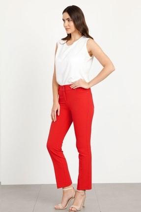 Moda İlgi Kadın Kırmızı Beş Cep Dar Paça Pantolon