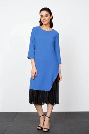 Moda İlgi Kadın Mavi Piliseli Yırtmaçlı Uzun Elbise