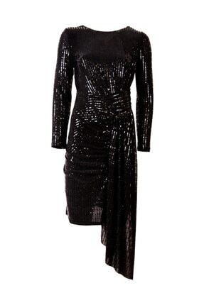 Moda İlgi Kadın Siyah Pul Payet Elbise