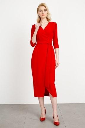 Moda İlgi Kadın Kırmızı Kruvaze Anvelop Elbise