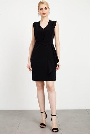 Moda İlgi Kadın Siyah Bel Korsajlı V Yaka Kolsuz Elbise