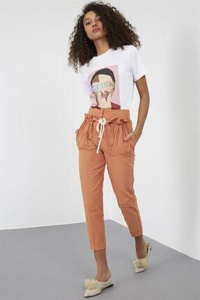 Setre Kadın Somon Yüksek Bel Cepli İp Detaylı Pamuk Havuç Pantolon ST050S2021601