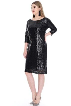 ANGELINO Kadın Siyah Mini Payetli Abiye Elbise KL5601