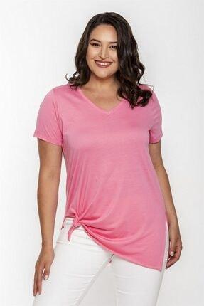 Seamoda V Yaka Yırtmaçlı Basic Tshirt-pembe
