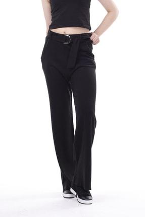 Stamina Kadın Stamina Beli Kemerli Cepli Uzun Pantolon-siyah 1866101