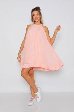 Kadın Pudra Rengi Şifon Elbise MMELB004P