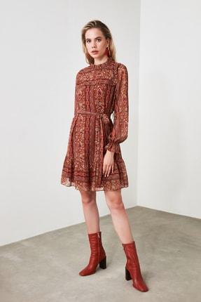 TrendyolMilla Çok Renkli Kuşaklı Desenli Elbise TWOAW21EL0879