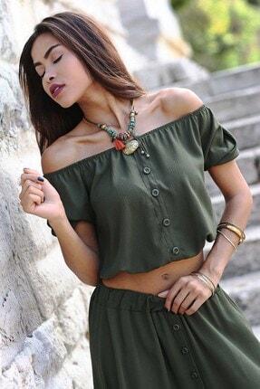 Womenice Kadın Haki Krinkıl Düğme Detaylı Bluz