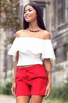 Womenice Kadın Ekru Straplez Yaka Bluz