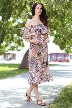 Womenice Kadın Somon Çiçek Desen Yaka Fırfır Elbise