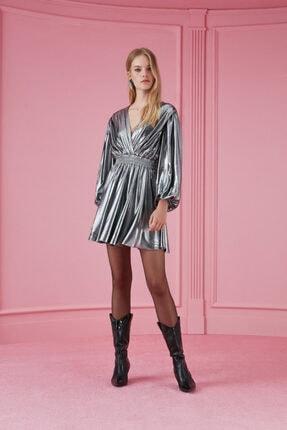 Nocturne Kadın Gümüş Metalik Mini Elbise N20K-2115-0026