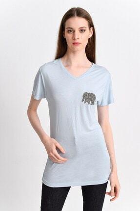 Cotton Mood Kadın Mavi Süprem Göğsü Fil Taşlı Kısa Kol V Yaka Bluz 9282823