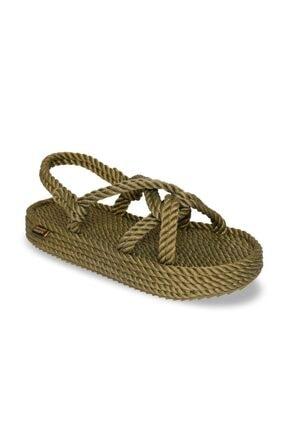 NOMADIC REPUBLIC Bora Bora Platform Halat & İp Kadın Sandalet - Haki