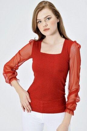 Jument Kadın Kırmızı Simli Kolları Tüllü Kare Yaka Bluz