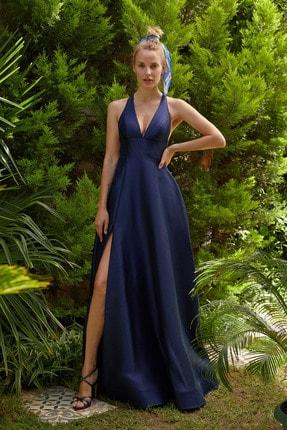 Oleg Cassini Kadın Lacivert Halter Yaka Saten Abiye Elbise 4XLVC3758