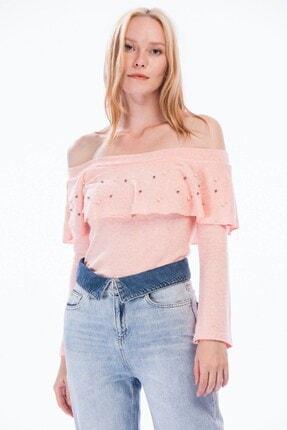 Cotton Mood 8374801 Yumoş Volanlı Incili Geniş Yaka Bluz Pudra