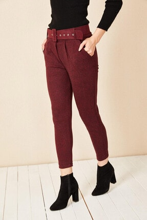 Morpile Kadın Bordo Ekose Desen Pantolon