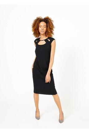 Cazador Kadın Siyah Yaka Deyatlı Fermuarlı Elbise