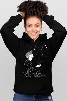 Rock & Roll34 Kadın Siyah Yıldızların Altında Kapşonlu Sweatshirt