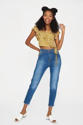 Batik Kadın Sarı Kısa Kol Desenli Casual Bluz